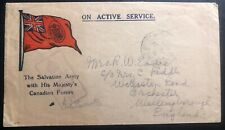 1918 Canadian Army PO On Active Service OAS Cover To Irchester England