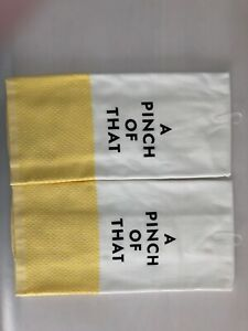 """New Kate Spade New York Cute Yellow """"Pinch of That"""" Set of 2 Kitchen Towels"""