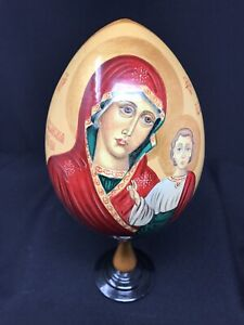 Vintage Russian Orthodox Religious Icon Our Lady Of Kazan Wooden Handpainted Egg