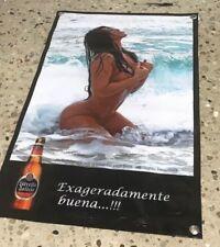 Estrella Galicia Beer poster bottle cerveza banner store bar sign girl Spain