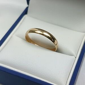 9ct Gold Wedding Band Or Ring.  Size O.  London 1993