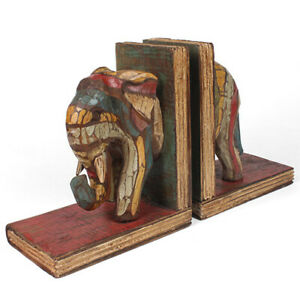 Elephant Book Ends Hand Painted Pack Rustic Colours