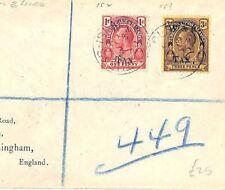 Turks & Caicos Cover WAR TAX Registered 1919 *Wilson* Birmingham {samwells}AB348