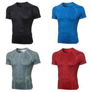 Men Quick Dry Sports Short Sleeve T-Shirts High Elastic Fitness Training Tops