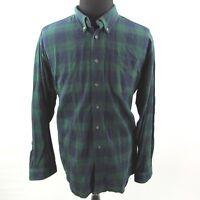 LL Bean Flannel Shirt Mens XXL 2XL Green Plaid Long Sleeve Casual