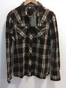 All Saints Mens Hellertown L/s Shirt Burnt Red Sz L (nwt)