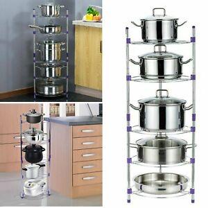 5 Tier Kitchen Pan Stand Saucepan Pot Rack Chrome Storage Organiser Shelf Holder
