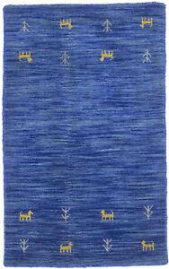 Tribal Modern Hand-Loomed Blue 2X3 Small Oriental Rug Contemporary Decor Carpet