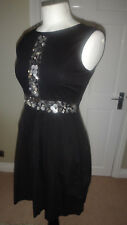 MONSOON FUSION BLACK DRESS WITH BEAD DETAIL SIZE UK 8