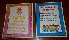2 Laminated Tattling  Posters.  Daycare Behavior Management  accessories.