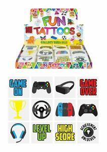 GAMER GAMING Temporary Tattoos Childrens Party Bag Fillers Choose Quantity