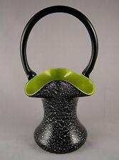 Czechoslovakian Cased Art Glass Basket Black Silver Chartreuse Mica Flakes 8 In