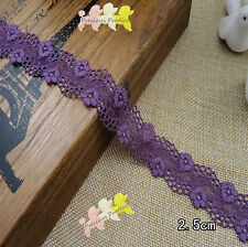 2 Ms Beautiful Dark Purple Stretch Lace Trim Flower All Crafts 2.5cm wide