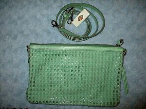 Fossil Mint Green Sydney Slim Crossbody Purse ZB5715784 Woven PVC $128 NEW