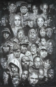 Poster Hip Hop Collage Rappers Snoop Dogg Eminem Biggie Tupac