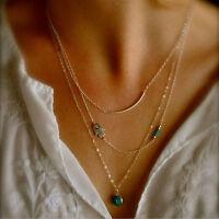 Women Hamsa Hand Fatima Evil Eye Bead Turquoise Pendant Charm Chain Necklace