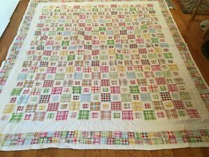 "NEW Handmade Trip Around the World Pattern Quilt  104"" x 91"""