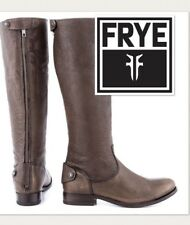 FRYE Riding Boots Melissa Button Back Zip Tall Leather Knee High Brown, Grey 6.5