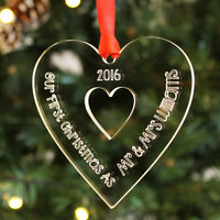 Personalised First Christmas Together 'Mr & Mrs' Heart Bauble Keepsake Tree Gift