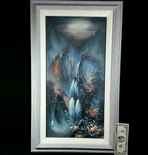 Original Waterfall Landscape Signed IZ Framed Pastel Wall Art Canvas Painting