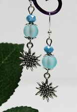 Glass Jewels Silber Ohrringe Ohrhänger Perlen Blau Blume Edelweiß Elegant #LA021