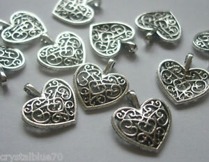 20 x Hearts Filigree Style Charms Antique Silver Tone 17x15mm Crafts - C012