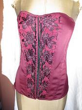 Lace up corset bustier burgundy purple & black w embroidery M burlesque boudoir