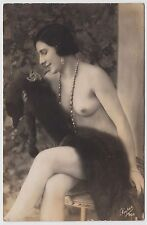 FRENCH RP POSTCARD - elegant naked woman, fur & jewellery, risque erotic nude