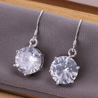 Super Stunning  925 Sterling Silver Filled 12mm Zircon Crystal Dangle Earrings