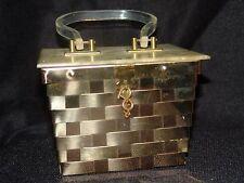 Vintage Dorset Rex Gold Box Purse with Lucite lid & handle