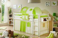 Lit mezzanine TIMMY R Hêtre massif teinté blanc tissus Beige-Vert