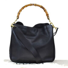 Authentic GUCCI Bamboo 2Way Tote Shoulder Hand Bag Leather Black Gold 01MF111