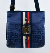 TOMMY HILFIGER Monogram Fabric Crossbody / Shoulder Bag, Blue