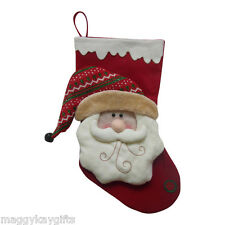 Grande peluche rouge 3D Santa Noël Stocking Chaussette Sac 50 cm tissu enfant