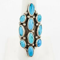 Large Sterling Silver Navajo Cluster Turquoise Ring Hand Stamped Band Size 8.5