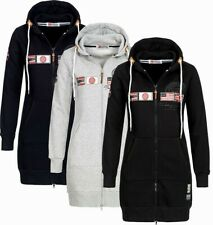 Geographical Norway Damen Sweatjacke Kapuzenpullover Sweater Lang übergangsjacke