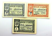 Spain-GUERRA CIVIL. Angles. 25 Céntimos, 50 Céntimos y 1 Peseta. 1937. EBC+/XF+