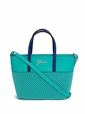 NEW GUESS SONJA TURQUOISE BLUE PERFORATED LEATHERETTE MINI CROSSBODY,HANDBAG