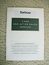 VINTAGE BARBOUR JACKET CARE BOOKLET
