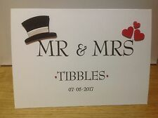 Handmade Mr & Mrs wedding card- personalised with surname and date