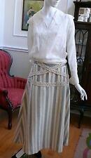 Edwardian Wool Striped Skirt Art Nouveau Titanic A-Line with Crochet lace L