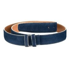 1-3-8 inch Navy Blue Suede Belt Strap White Replacement buckle Adjustable Sz 40""