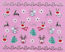 Christmas SILVER White Snowflakes Xmas Tree Reindeer 3D Nail Art Sticker Decal
