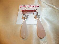 Betsey Johnson Sweet Shop Pave Bow Stone Drop Dangle Earrings NWT $48