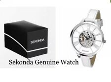 Sekonda Ladies Watch Skeleton Design Stainless Steel Case White Dial 2312 New