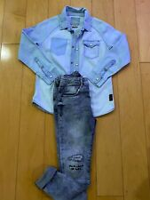 Zara Kids Boy's Set Outfit Light Blue Denim Shirt Gray Jeans 9-10