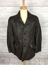 Mens Vintage Leather Safari Jacket - Medium 44 - Brown - Great Condition