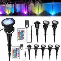 Lot 4 Led Multi-Color Spotlight Garden Decorative Landscape Light w/ Spike Stand