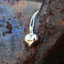 """Puffed Heart Necklace Fine Sterling Silver New Jewelry Shipping Free 18"""" Chain"""