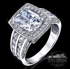 3 ct Radiant Halo Deco Ring Top CZ Sterling Silver Sz 6